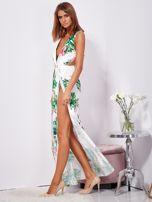 SCANDEZZA Biało-zielona sukienka maxi floral print z rozcięciem                                  zdj.                                  3