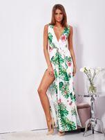Biało-zielona sukienka maxi floral print z rozcięciem                                  zdj.                                  9