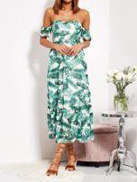 Biało-zielona sukienka maxi off shoulder w liście                                  zdj.                                  2