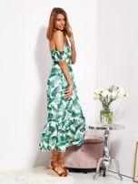 Biało-zielona sukienka maxi off shoulder w liście                                  zdj.                                  7