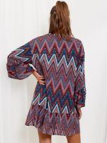 Bordowo-turkusowa sukienka w geometryczny nadruk                                  zdj.                                  2