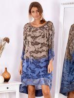SCANDEZZA Brązowo-niebieska sukienka ombre z jedwabiem                                  zdj.                                  1