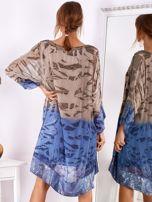 Brązowo-niebieska sukienka ombre z jedwabiem                                  zdj.                                  2
