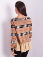 SCANDEZZA Brązowy sweter z koszulą                                  zdj.                                  5