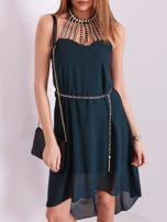 Ciemnozielona sukienka z aplikacją                                  zdj.                                  6