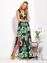 SCANDEZZA Czarna sukienka w kwiaty z rozcięciem i wiązaniem                                  zdj.                                  10