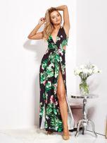 Czarna sukienka w kwiaty z rozcięciem i wiązaniem                                  zdj.                                  12