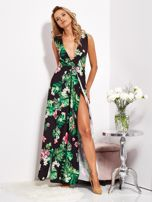 SCANDEZZA Czarna sukienka w kwiaty z rozcięciem i wiązaniem                                  zdj.                                  3
