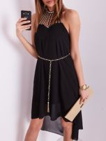 SCANDEZZA Czarna sukienka z aplikacją                                  zdj.                                  7