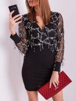 SCANDEZZA Czarna sukienka z cekinami                                  zdj.                                  2