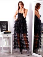 SCANDEZZA Czarna sukienka z warstwowymi falbanami                                  zdj.                                  4