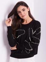 Czarny sweter z perełkami                                  zdj.                                  4