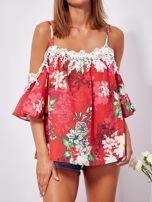 SCANDEZZA Czerwona lniana bluzka cold shoulder w kwiaty                                  zdj.                                  5