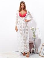 SCANDEZZA Ecru maxi sukienka plażowa z głębokim dekoltem                                  zdj.                                  4