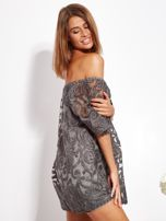 Grafitowa sukienka hiszpanka mini ze wzorem paisley                                  zdj.                                  7