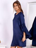 Granatowa sukienka z hiszpańskimi rękawami                                  zdj.                                  3