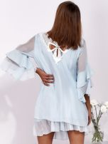 SCANDEZZA Jasnoniebieska zwiewna sukienka z hiszpańskimi rękawami                                  zdj.                                  2