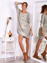 Khaki sukienka oversize z cekinami w malarski deseń                                  zdj.                                  1