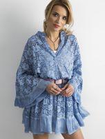 Niebieska luźna sukienka z koronki                                  zdj.                                  1