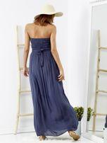 Niebieska sukienka maxi z cekinową górą                                  zdj.                                  2