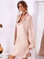 SCANDEZZA Pudroworóżowa luźna sukienka z jedwabiem                                  zdj.                                  4