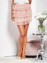 SCANDEZZA Pudroworóżowa mini spódnica z tiulem i falbanami                                  zdj.                                  5