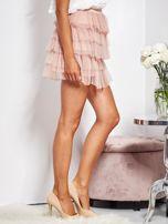 SCANDEZZA Pudroworóżowa mini spódnica z tiulem i falbanami                                  zdj.                                  3
