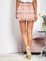 SCANDEZZA Pudroworóżowa mini spódnica z tiulem i falbanami                                  zdj.                                  7