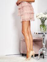 Pudroworóżowa mini spódnica z tiulem i falbanami                                  zdj.                                  9