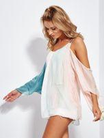 SCANDEZZA Różowo-zielona bluzka ombre bez ramion z cekinami                                  zdj.                                  8