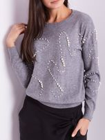 Szary sweter z perełkami                                  zdj.                                  2