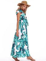SCANDEZZA Zielona długa sukienka z nadrukiem liści                                  zdj.                                  3