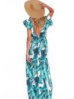 Zielona długa sukienka z nadrukiem liści                                  zdj.                                  2