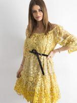 Żółta sukienka hiszpanka z koronką                                  zdj.                                  3