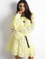 Żółta sukienka z hiszpańskim dekoltem                                  zdj.                                  6