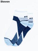 STEVEN Biało-niebieskie skarpety dziecięce bawełniane