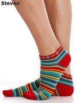 STEVEN Czerwone bawełniane skarpety stopki w paski                                  zdj.                                  4