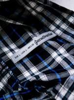 STRADIVARIUS Granatowa koszula w kratę z kieszonkami