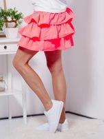 Spódnica fluo różowa dresowa z falbankami                                  zdj.                                  3