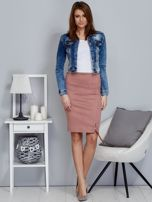 Spódnica różowa z imitacji zamszu ze sznurowaniem                                   zdj.                                  4