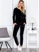 Spodnie dresowe aksamitne z jasnymi lampasami czarne                                  zdj.                                  4