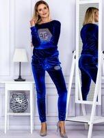 Spodnie dresowe welurowe z błyszczącymi kamyczkami niebieskie                                  zdj.                                  4