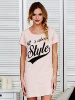 Sukienka bawełniana IT'S ABOUT STYLE brzoskwiniowa                                  zdj.                                  1