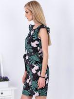 Sukienka ciemnoszara w roślinne motywy PLUS SIZE                                  zdj.                                  5