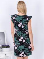 Sukienka ciemnoszara w roślinne motywy                                   zdj.                                  2