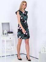 Sukienka ciemnoszara w roślinne motywy                                   zdj.                                  4