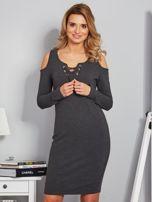 Sukienka cold shoulder w wypukłe paski grafitowa                                  zdj.                                  1