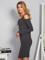 Sukienka cold shoulder w wypukłe paski grafitowa                                  zdj.                                  3