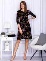 Sukienka czarna welurowa z roślinnym motywem                                  zdj.                                  4