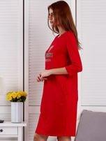 Sukienka damska czerwona z diamentem                                  zdj.                                  3